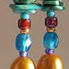 LONG BEADED EARRINGS  PURPLE GOLD & AQUA