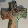 GOLD GREEN & PURPLE HAND CROSS