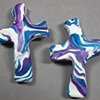 1 PAIR SMALL HAND CROSSES PURPLE & BLUE SWIRL ON WHITE CLAY