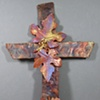 COPPER WALL CROSS WITH GRAPE LEAVES 1
