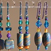 3 PAIR CLAY BEAD EARRINGS teal, purple, & gold