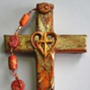 HEART ABLAZE ORANGE & GOLD COLLAGE CROSS