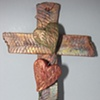 2 HEARTS ON TEXTURED COPPER WALL CROSS (SOLD)