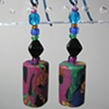 BRIGHTS ON BLACK CYLINDRICAL  POLYMER CLAY BEADED EARRINGS