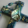 PAUA SHELL BUTTERFLY COLLAGE CROSS CLOSE UP VIEW
