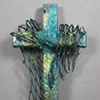 SOLD/ CAST YOUR NETS COLLAGE CROSS  (TEAL & GREEN)