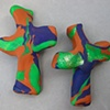 2 PURPLE & GREEN ON BROWN  HAND CROSSES