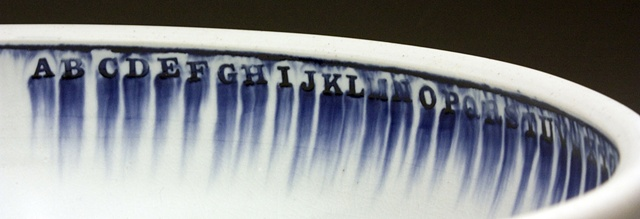 Bowl with letters, detail