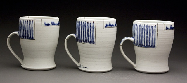Three cups with handle