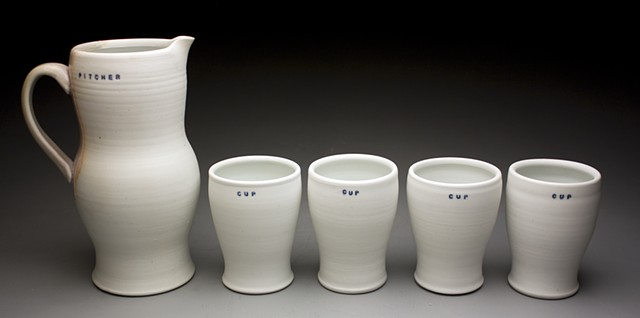 White Pitcher with Cups
