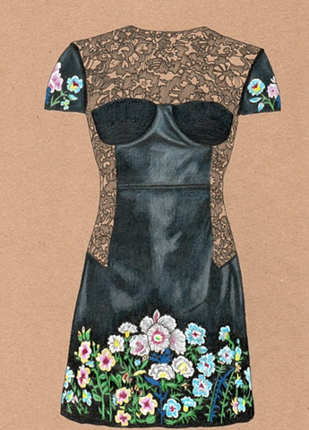 Dress #29 Leather & Lace Flower Dress
