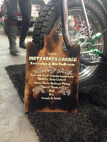 Motorcycle-build recognition wood cut sign