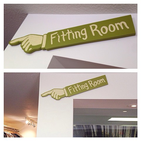 Fitting Room wood cut sign