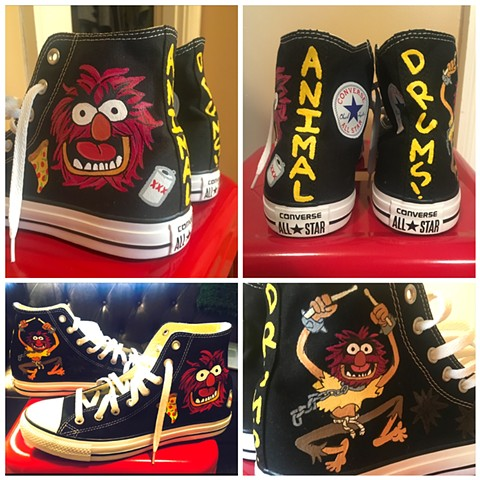 "Client request for their favorite muppet, ""Animal"" on their pair of Chucks."