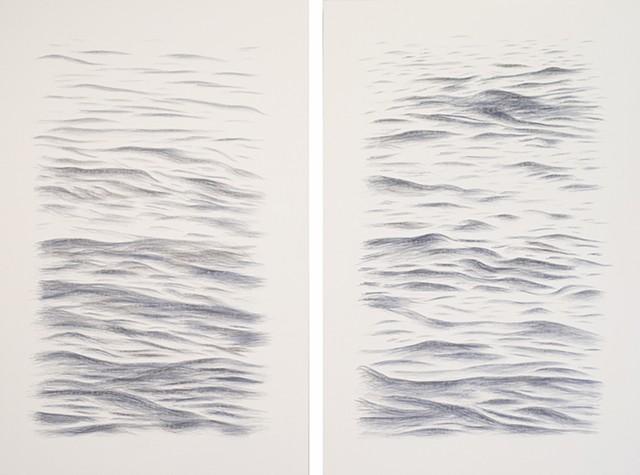 Joanne Aono Blue Fields East/West Diptych Hashi Drawing