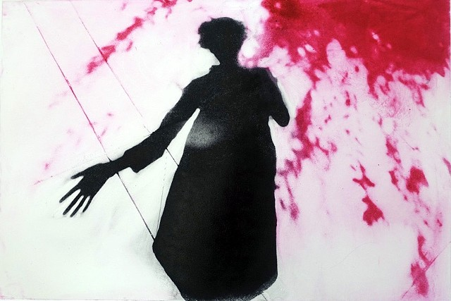 black shadow woman magenta leaves