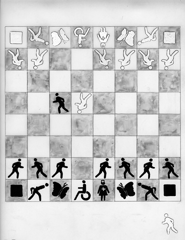 Liliya Lifanova, Marcel Duchamp vs. Rrose Selavy, chess, custom garments, Elizabeth Dow, Textiles, installation, SAIC Galleries, Gallery X n=, ritual, performance art, societas rafaello sanzio, cell division, wrestl