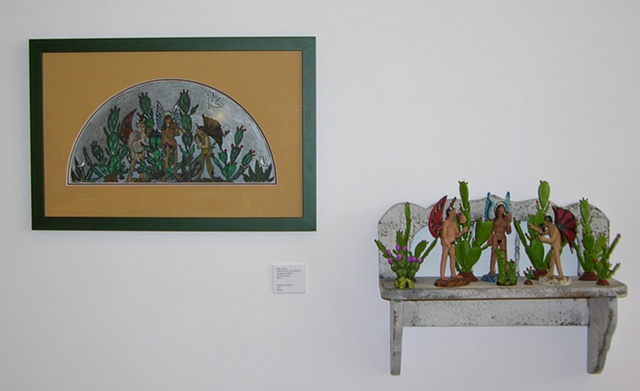 Shelf with Mexican Clay Angels and Devils and my gouache painting to the left