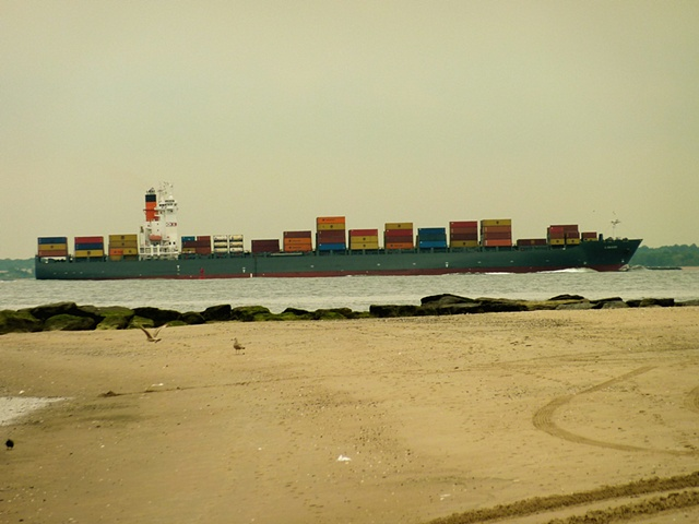 Container ship about to pass Sea Gate.
