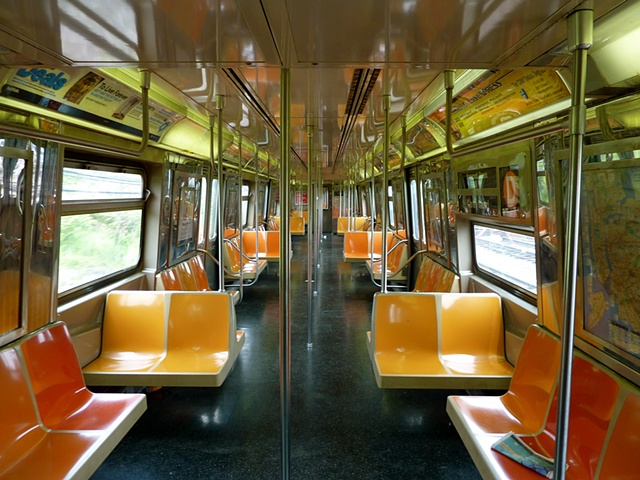 the train to Coney, oddly empty.