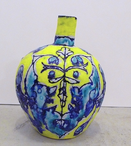 Small Turquoise & Yellow Leaf Face Bottle
