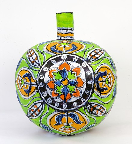 Large Green and Gold Round Lotus Bottle