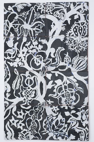 palampore white on black tile panel
