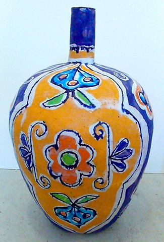 Lumpy Bottle with Flower