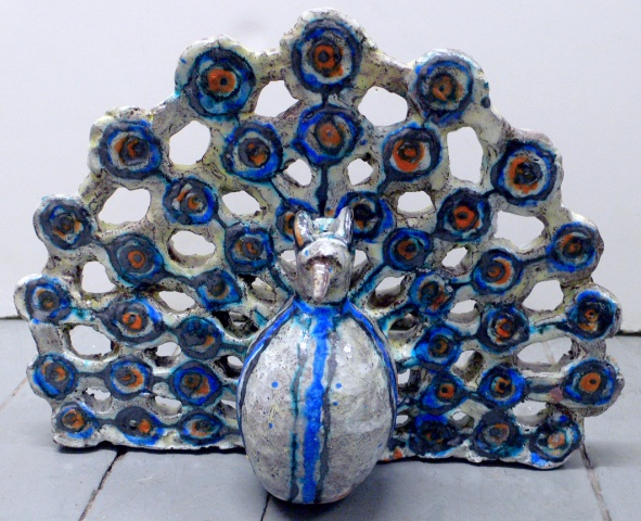 Blue and White Peacock Maquette