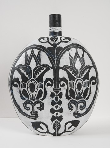 Large Flask with Upright Tulips