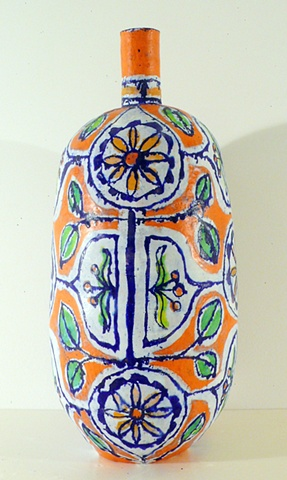 Large Orange & Gold Flower Bottle