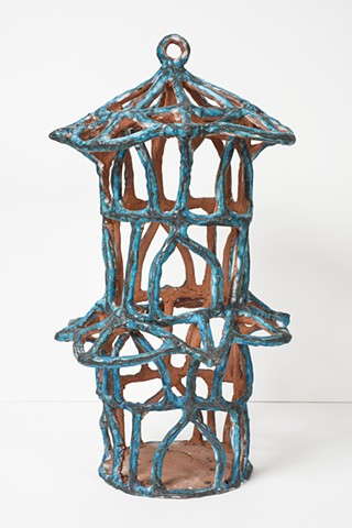 Turquoise Birdcage with Roof Semicircles