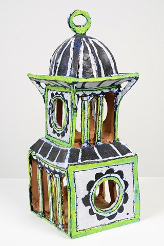 Lime Birdhouse with Columns