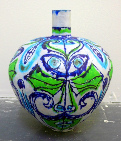 Lime and Blue Moustache Wing Bottle