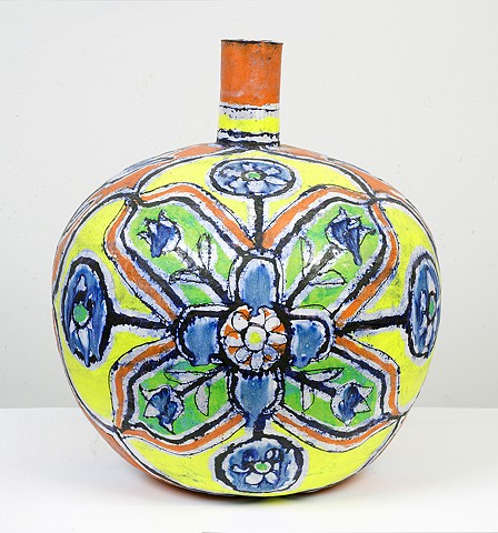 Large Round Yellow, Red & Lime Bottle