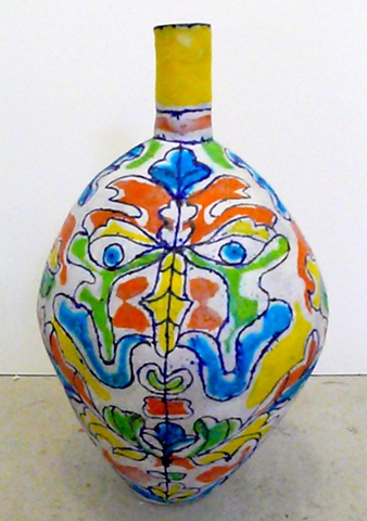 Red, Yellow & Green Leaf Face Bottle