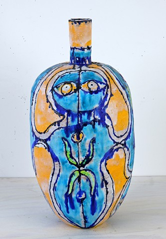 Turquoise & Gold Face Bottle