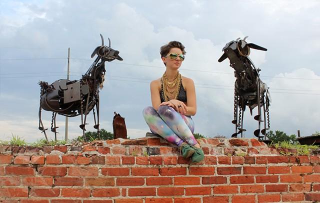 Scrap metal goat sculpture by Jonathan Bowling