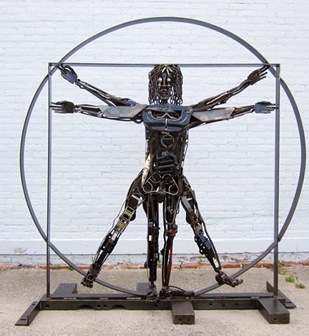 Vitruvian Man, Scrap Metal, Steel, Found Obects, Chain