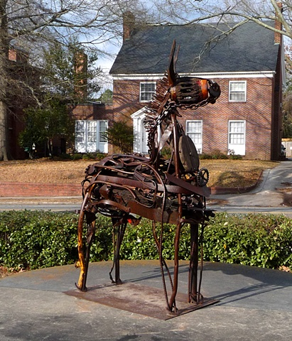 metal donkey sculpture