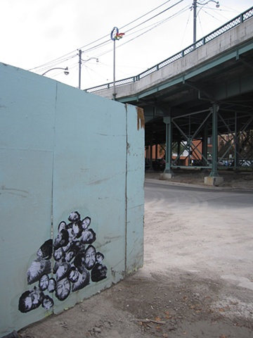 Paste-up, construction gate, River St.