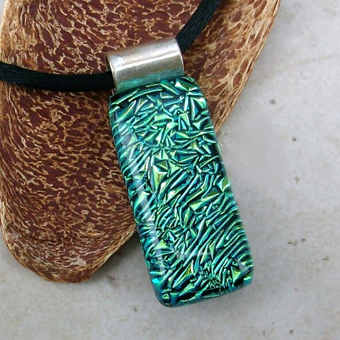 dichroic pendant fused glass green