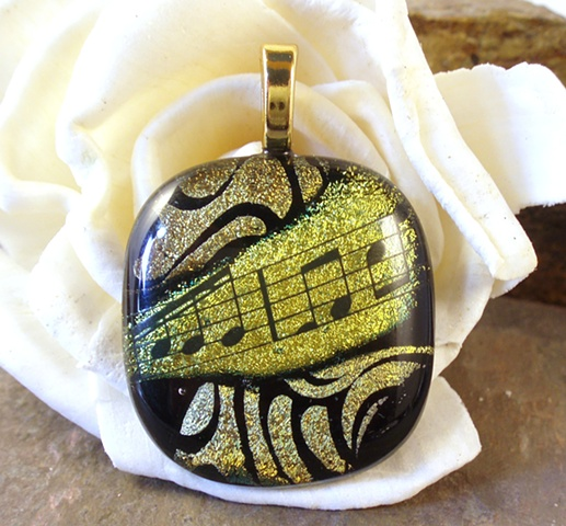 dichroic fused glass music musical sheet music pendant