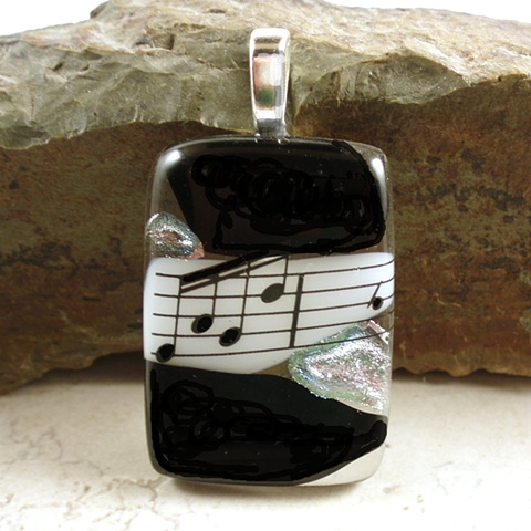 dichroic fused glass music pendant sheet music