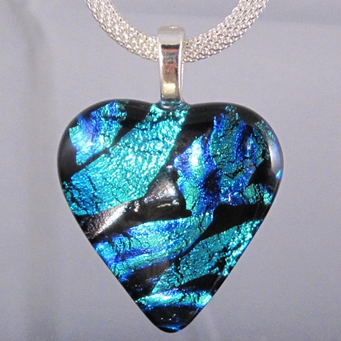 fused dichroic glass heart pendant