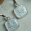 SHIMMERY SILVER..Fused Glass Dichroic Earrings