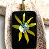 GOLD FLOWER Fused Dichroic Glass Pendant