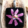 PINK FLOWER Fused Dichroic Glass Pendant