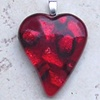 RED DICHROIC HEART PENDANT