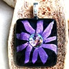 PURPLE FLOWER Fused Dichroic Glass Pendant